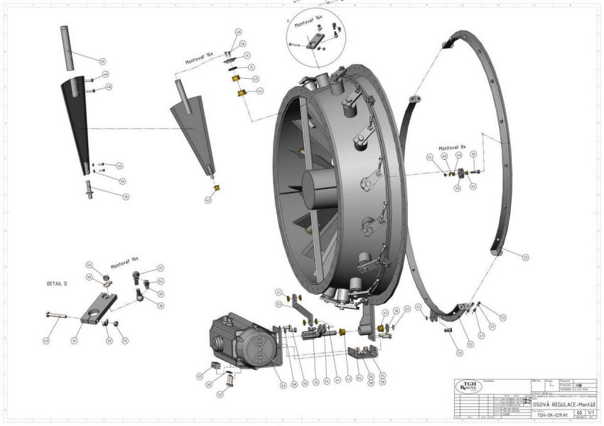 FLUE GAS DUCT FLAP DN 1800 AND AXLE CONTROL
